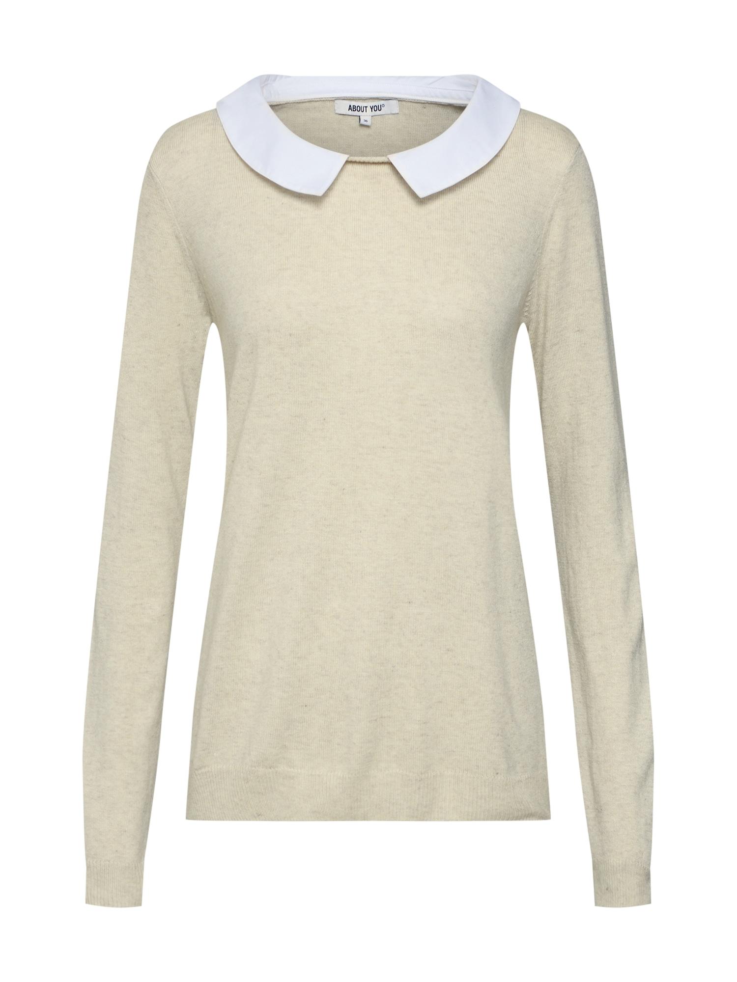 ABOUT YOU Megztinis 'Ina' kremo / balta