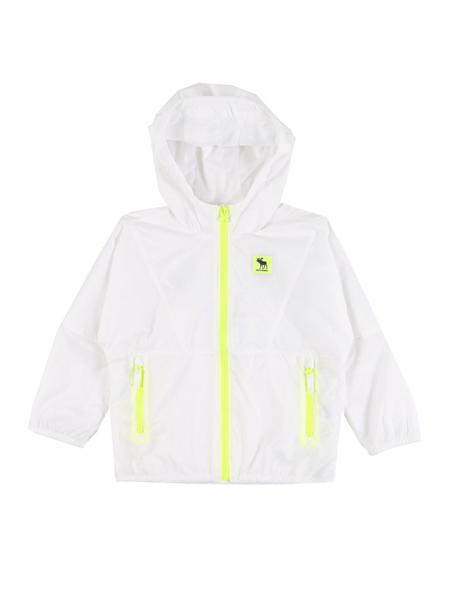 Abercrombie & Fitch Demisezoninė striukė balta / neoninė geltona