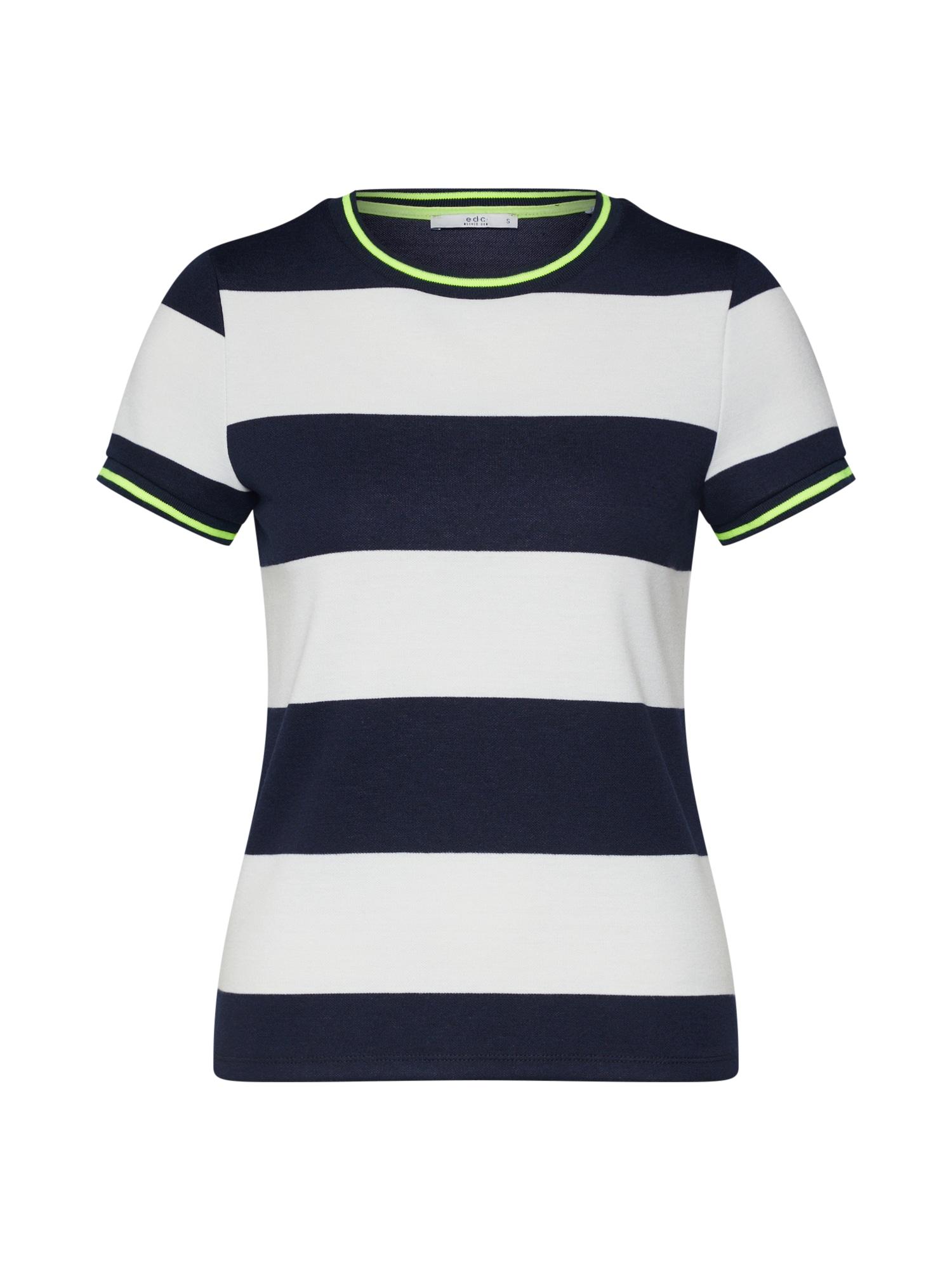 EDC BY ESPRIT Marškinėliai 'Stripe Tee' tamsiai mėlyna