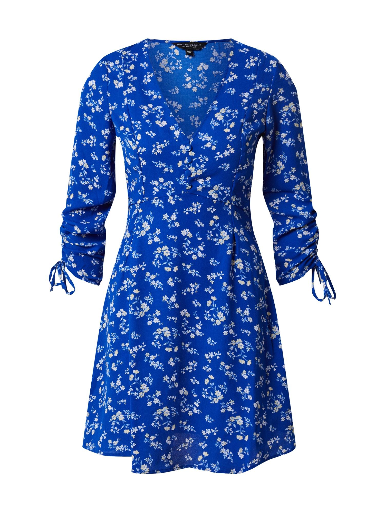 Dorothy Perkins Šaty 'BLUE CHANNEL RUCHED SLEEVED DRESS'  kráľovská modrá