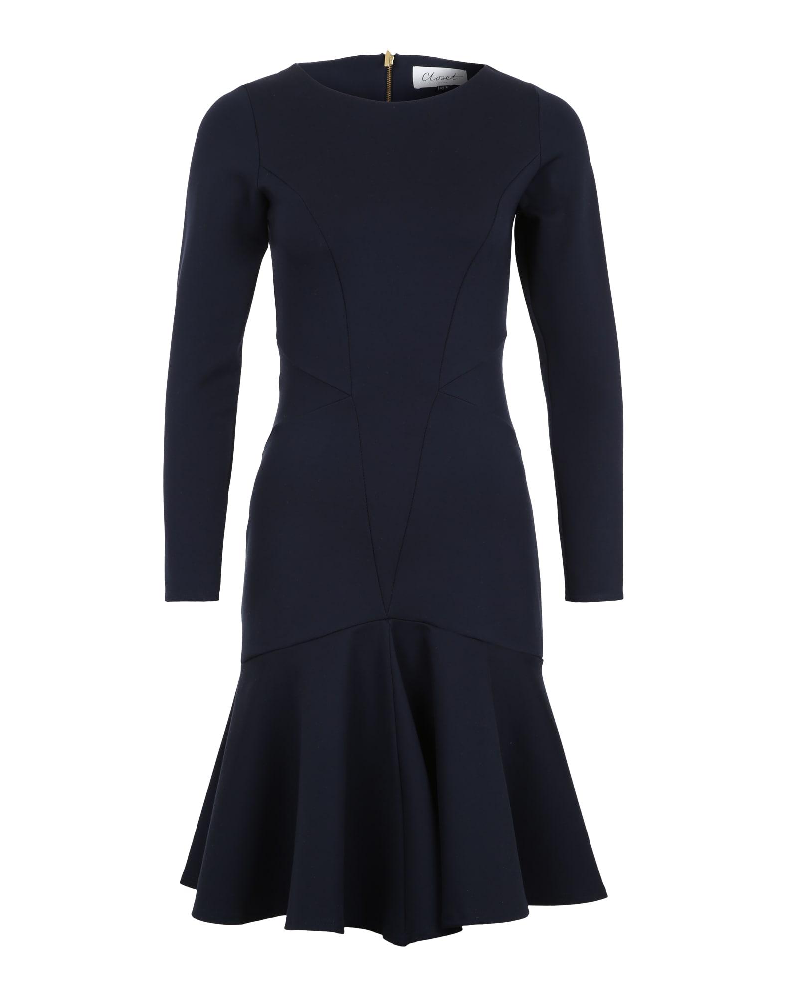 Koktejlové šaty anliegendes Kleid námořnická modř Closet London