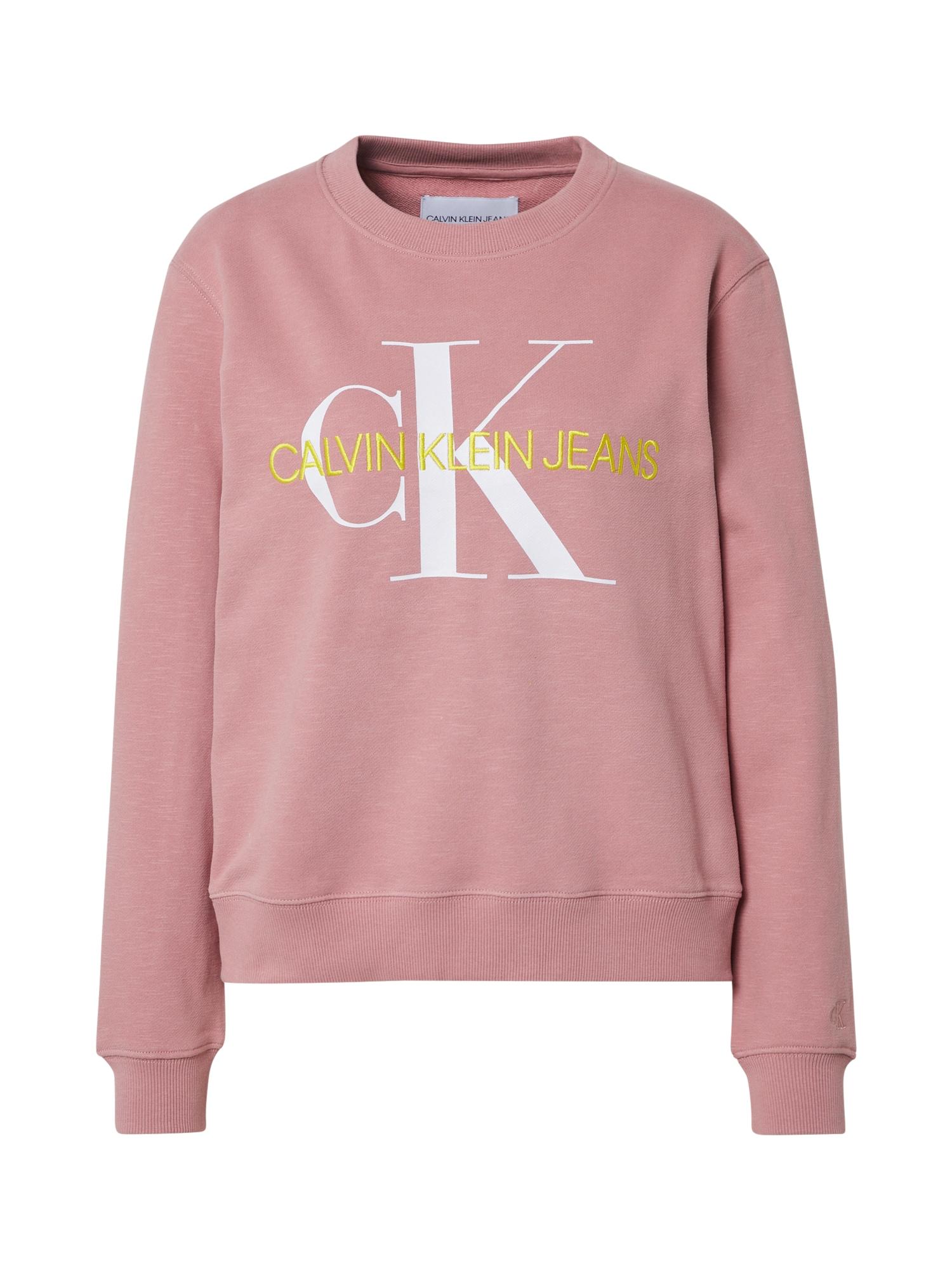 Calvin Klein Jeans Megztinis be užsegimo geltona / balta / abrikosų spalva