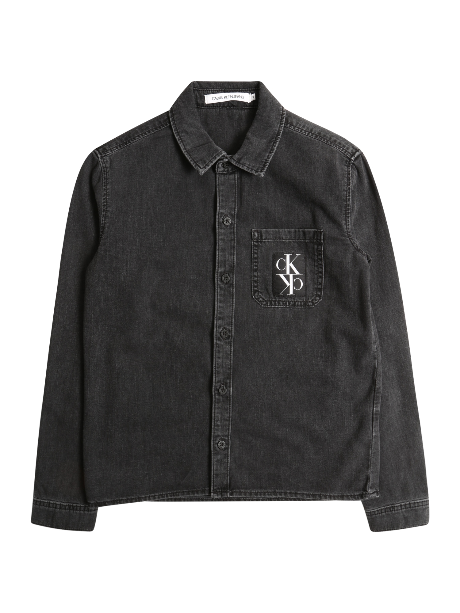 Calvin Klein Jeans Košile 'LS SHIRT BOYS GREY B'  šedá džínová