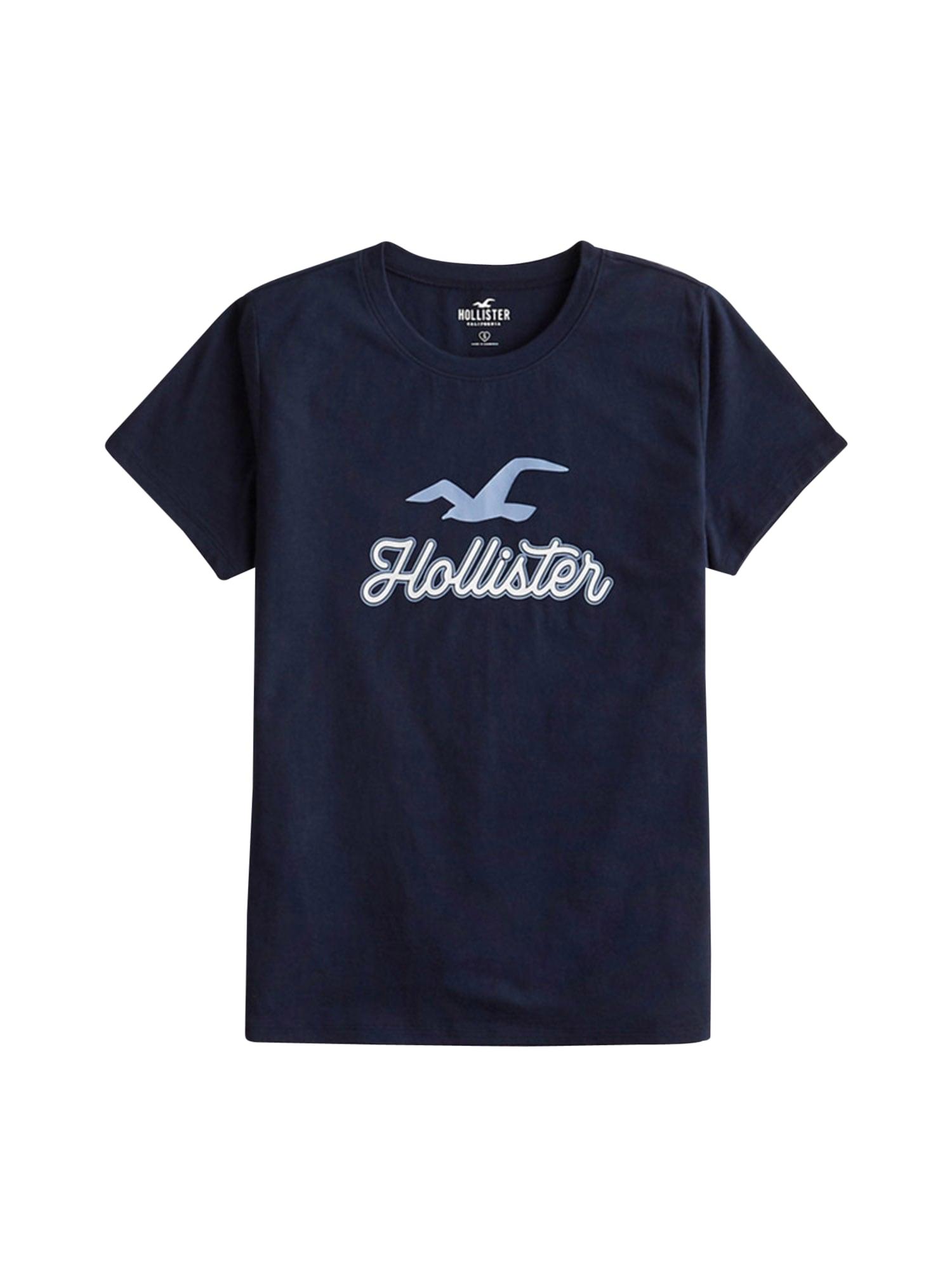 HOLLISTER Tričko  námořnická modř / bílá / nebeská modř