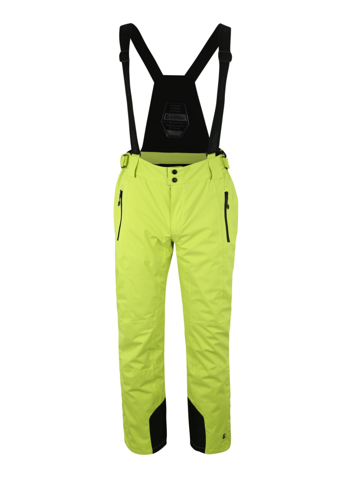 KILLTEC Laisvalaikio kelnės 'Enosh' žaliosios citrinos spalva / juoda