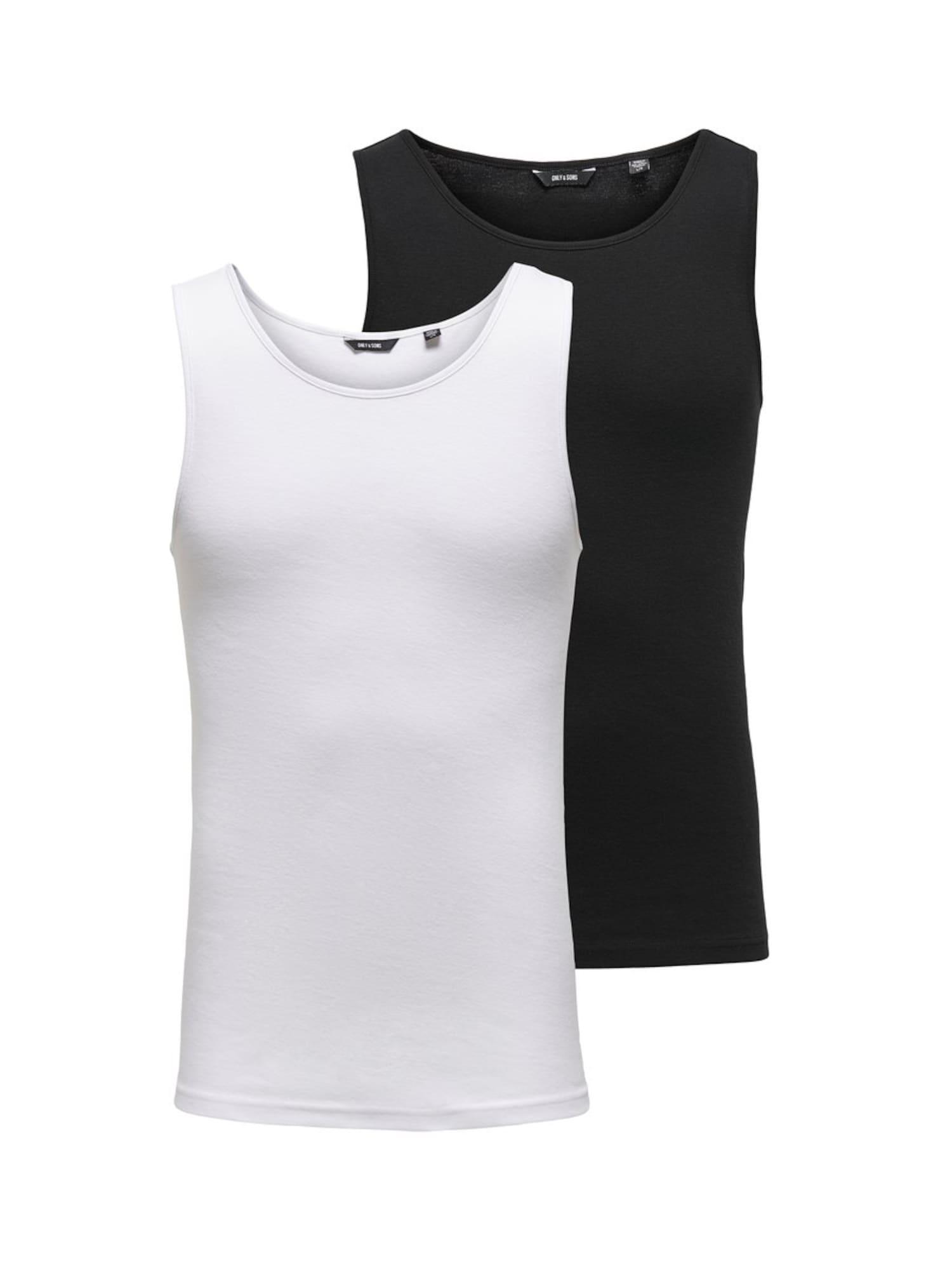 Only & Sons Apatiniai marškinėliai balta / juoda