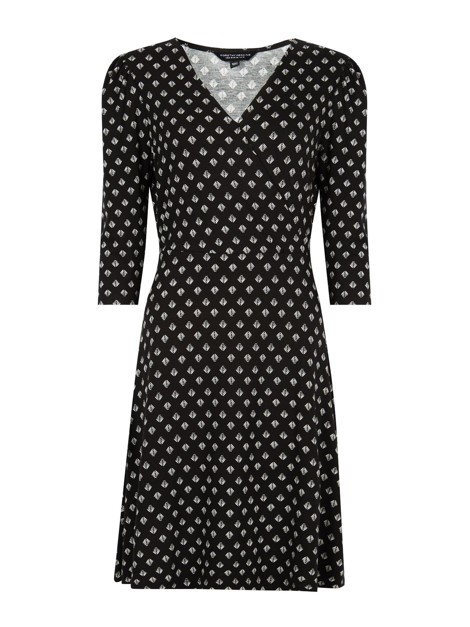 Dorothy Perkins Suknelė 'GEO PUFF SLEEVE WRAP DRESS' juoda / balta
