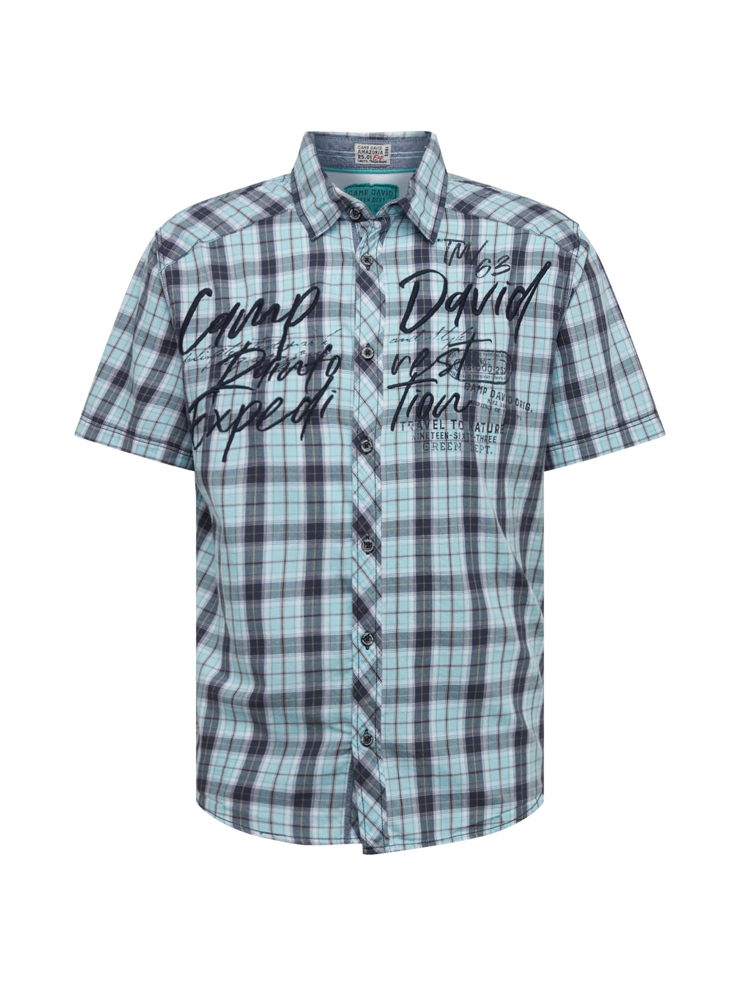 CAMP DAVID Dalykiniai marškiniai balkšva / tamsiai mėlyna jūros spalva