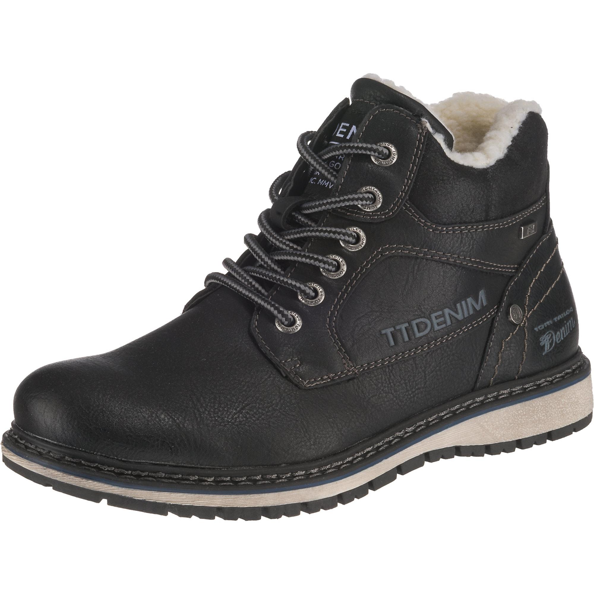 TOM TAILOR Auliniai batai su raišteliais juoda
