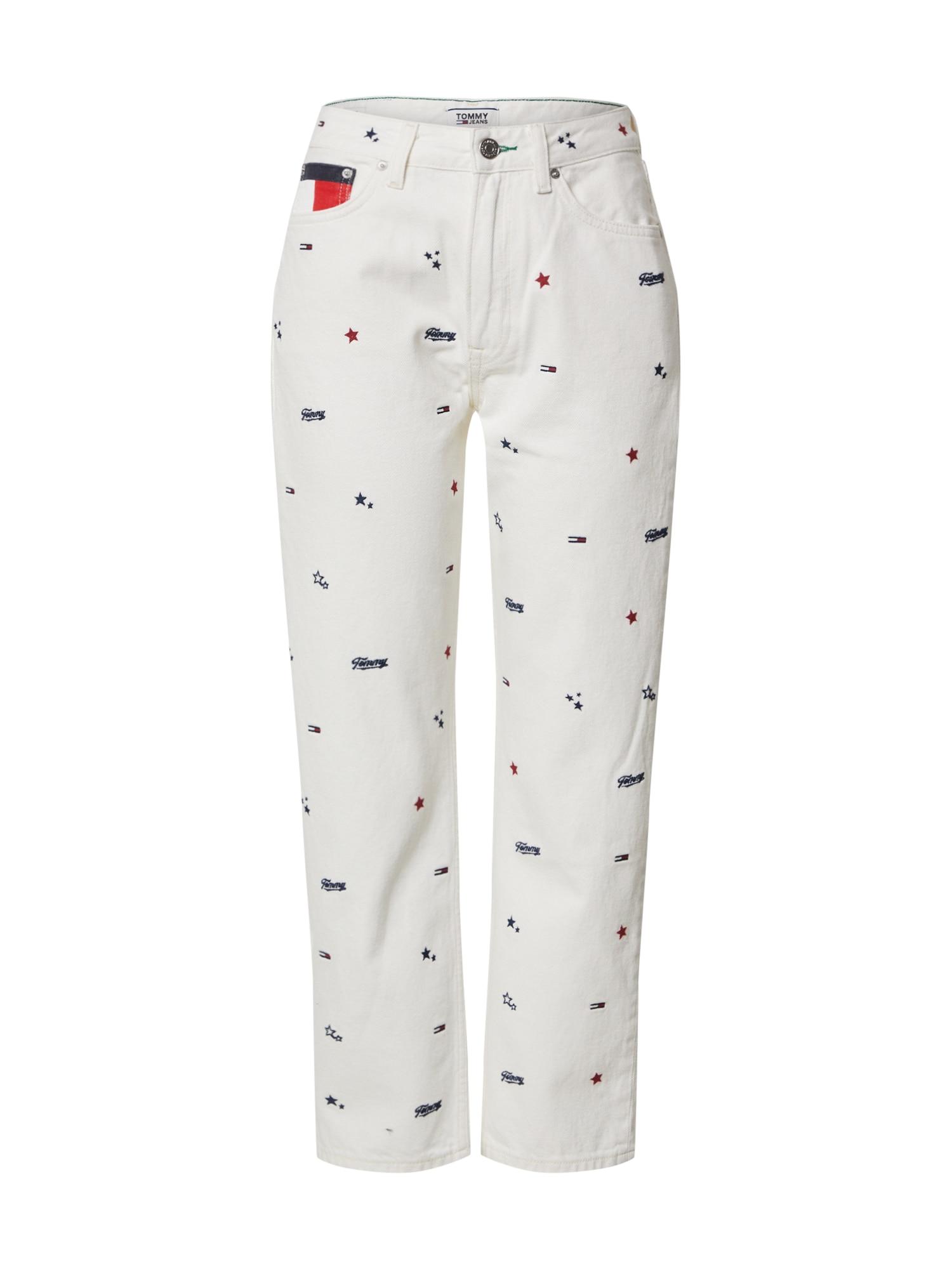 Tommy Jeans Džínsy 'HARPER'  biela denim / námornícka modrá / ohnivo červená