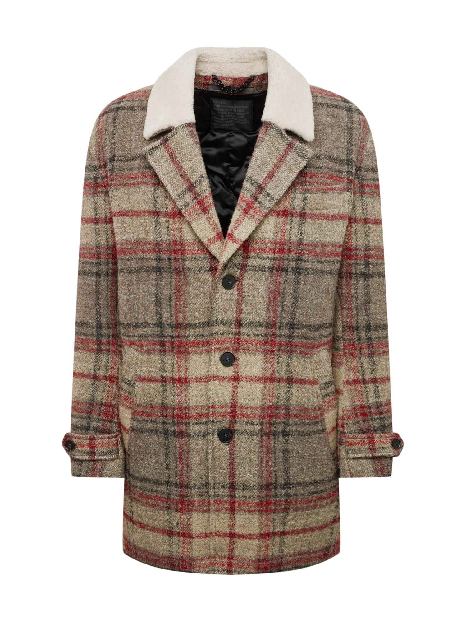 DRYKORN Žieminis paltas 'SUNT' pilka / raudona