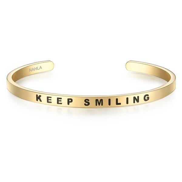 Armbaender für Frauen - Nahla Jewels Edelstahlarmreif mit KEEP SMILING Schriftzug gold schwarz  - Onlineshop ABOUT YOU