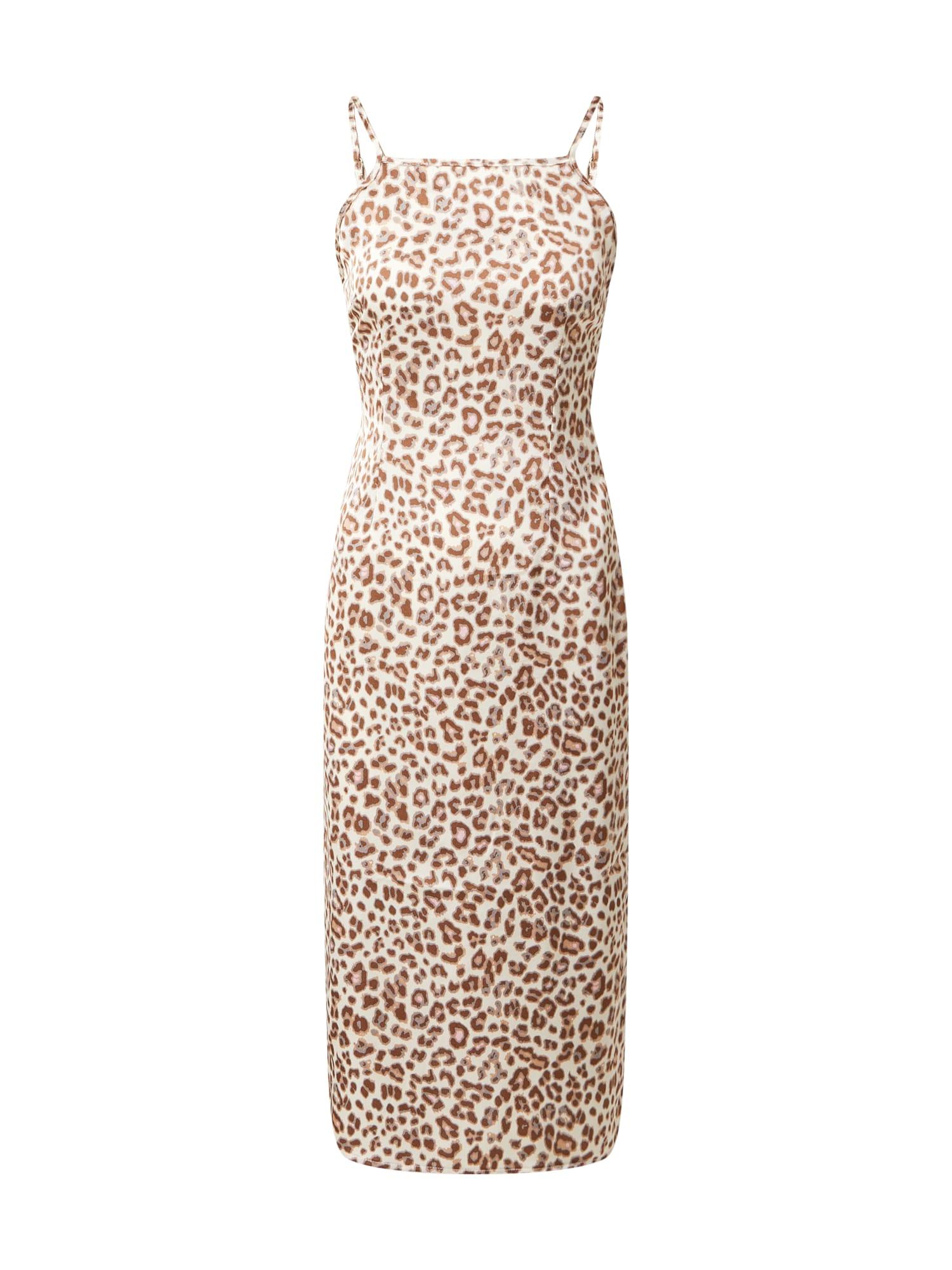 Unique21 Suknelė nebalintos drobės spalva / juoda / ruda