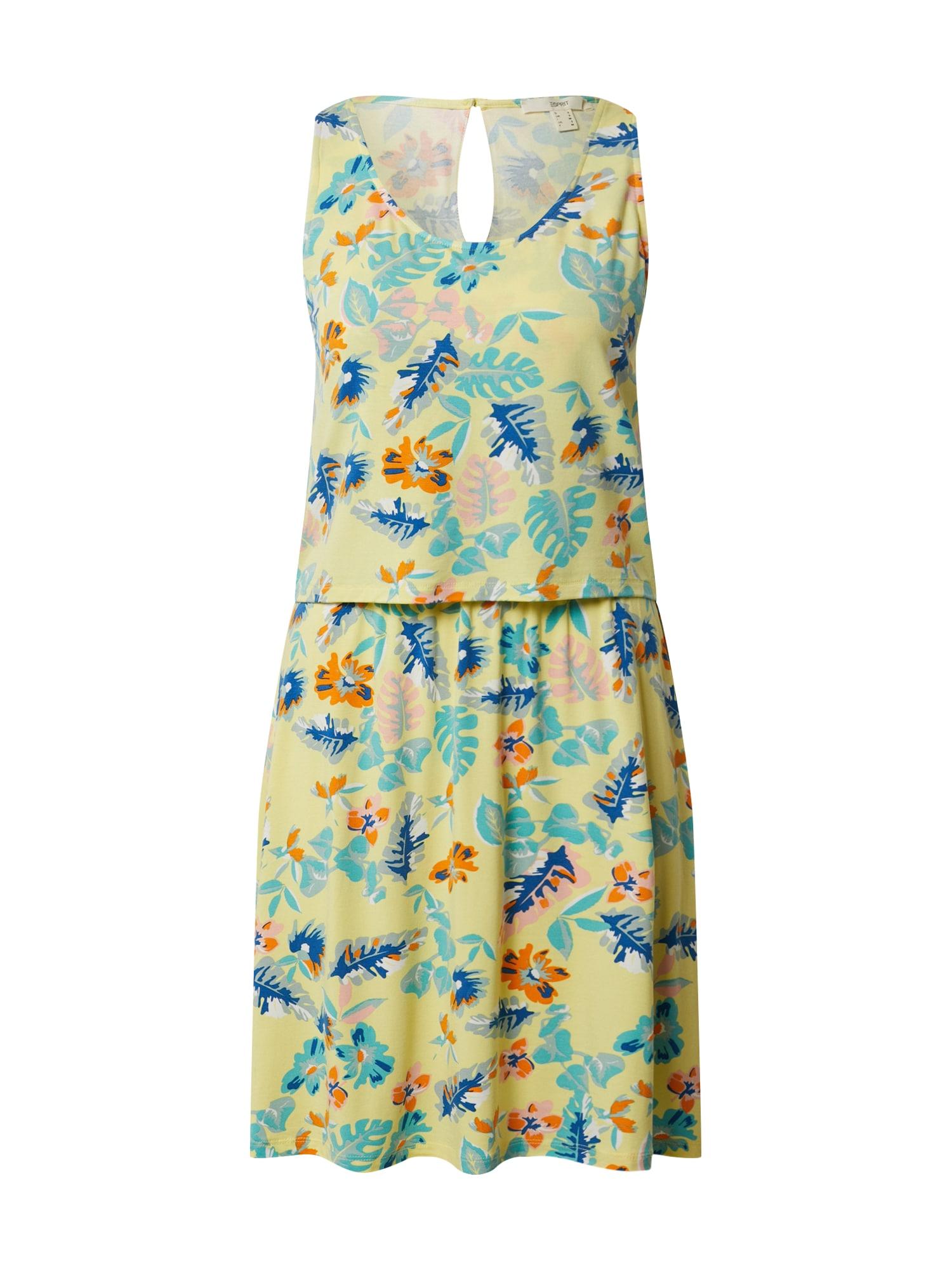 ESPRIT Letné šaty  citrónová / oranžová / modré
