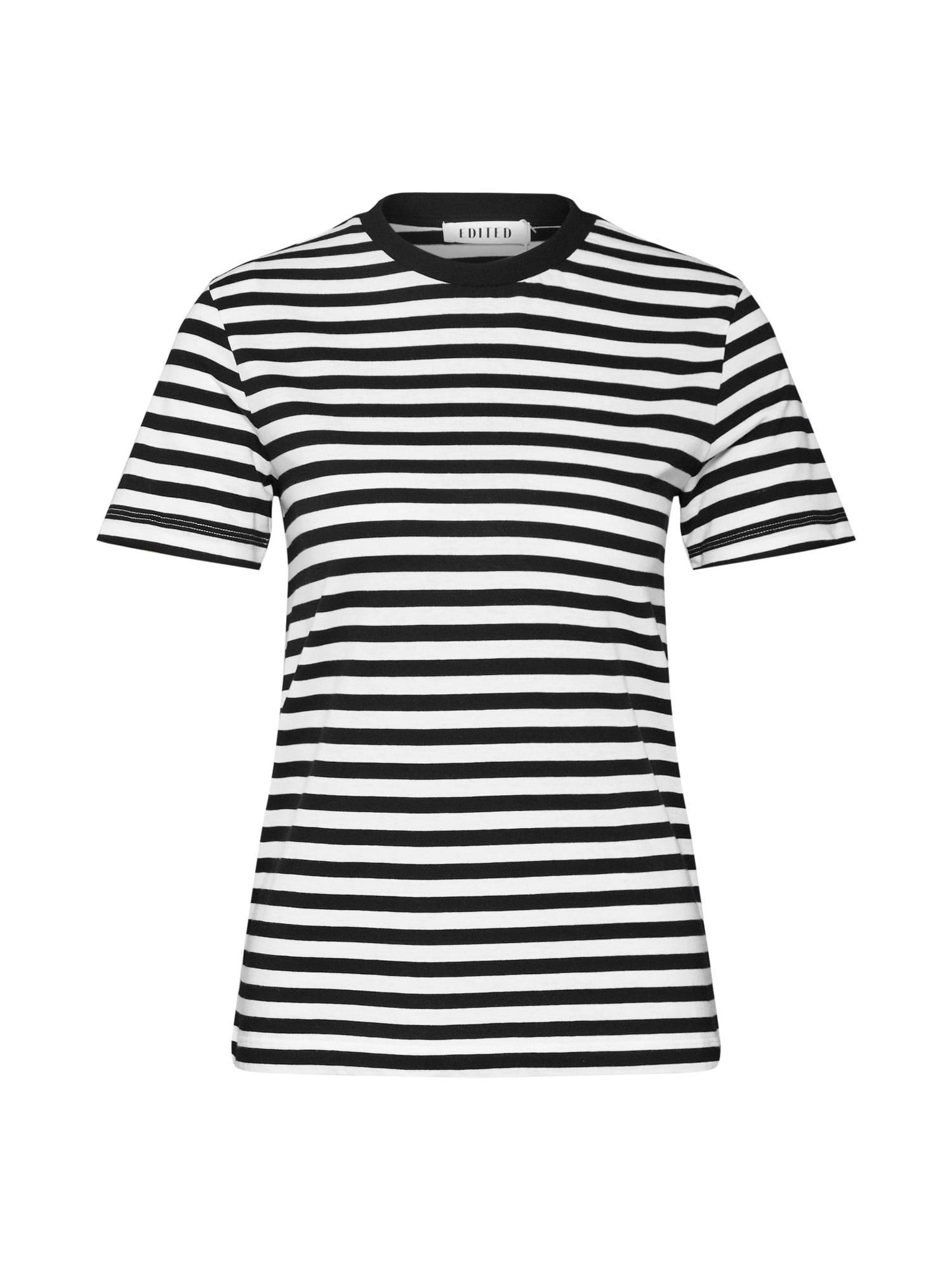 EDITED Marškinėliai 'Leila' juoda / balkšva