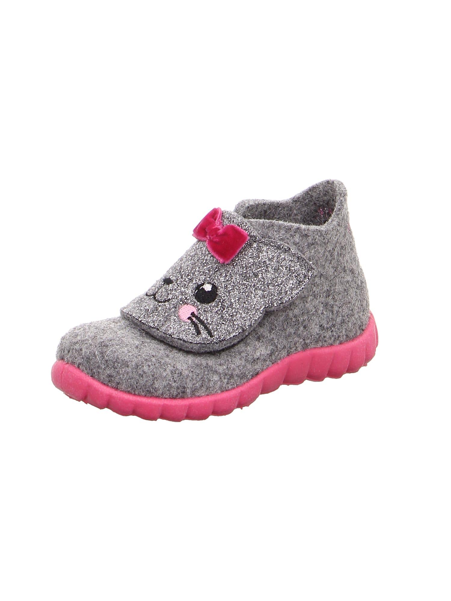 SUPERFIT Papuče 'Happy'  sivá / s ružovými fľakmi / čierna