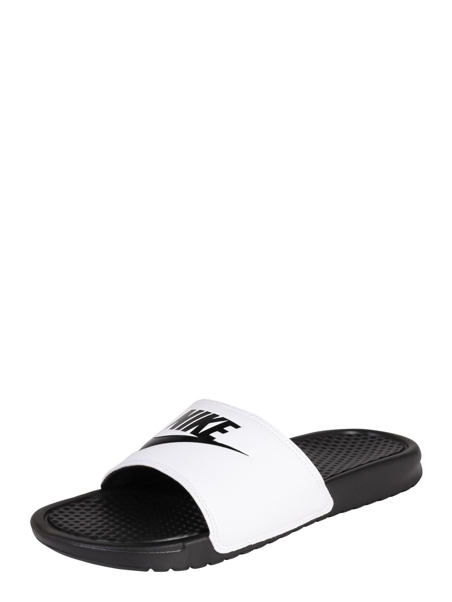 Nike Sportswear Šľapky 'Benassi Just Do It'  čierna / biela