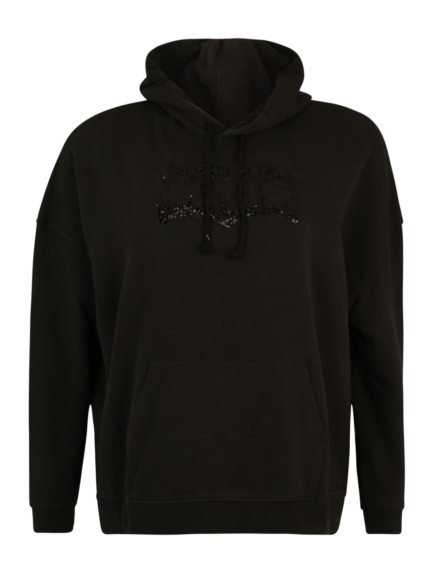 Levi's® Plus Megztinis be užsegimo 'PL GRAPHIC HOODIE' juoda