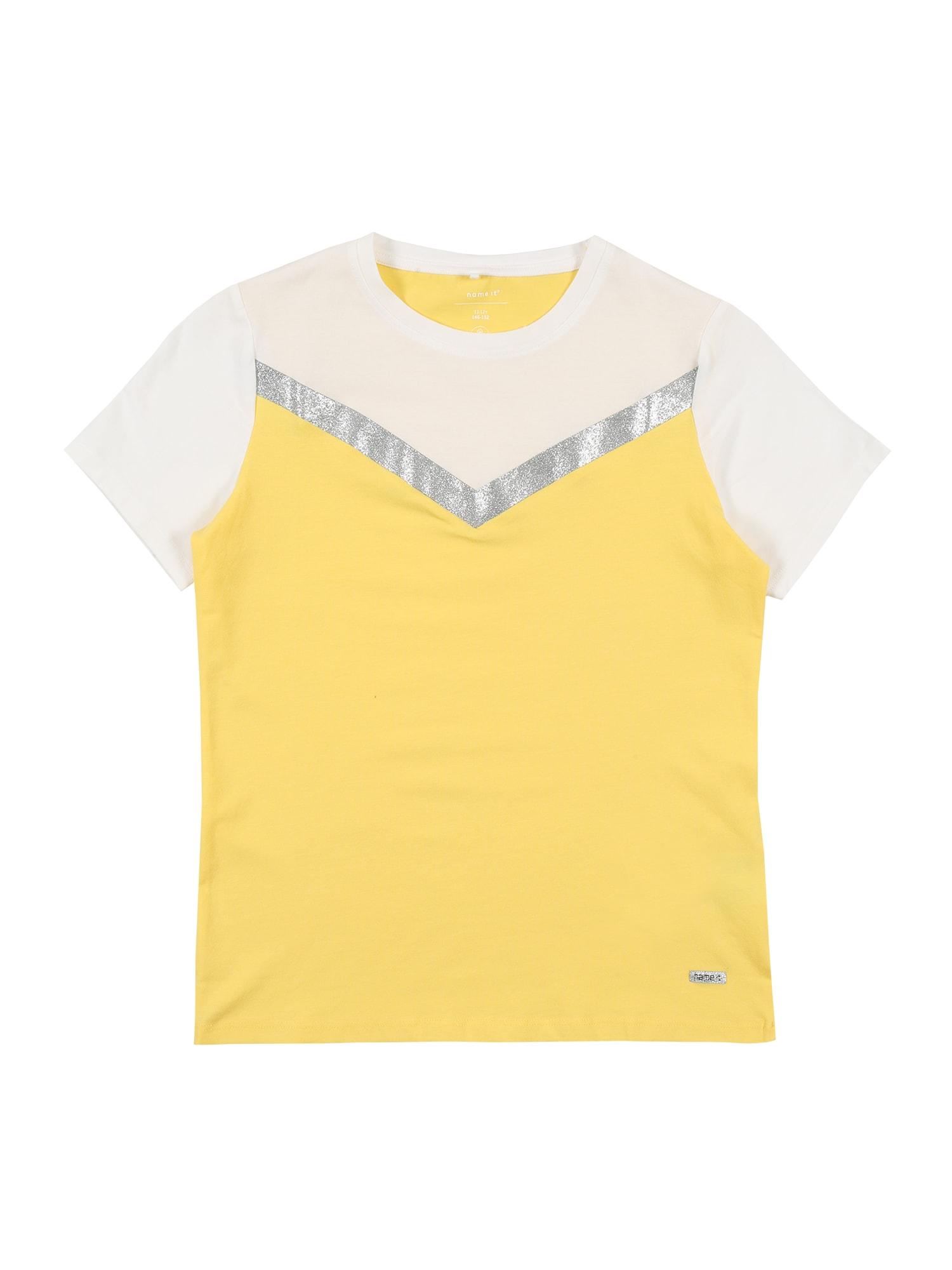 NAME IT Tričko  stříbrná / žlutá / přírodní bílá