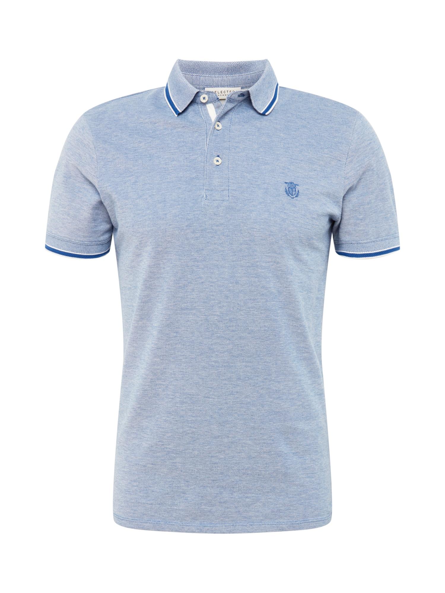 SELECTED HOMME Tričko 'Twist'  svetlomodrá / biela