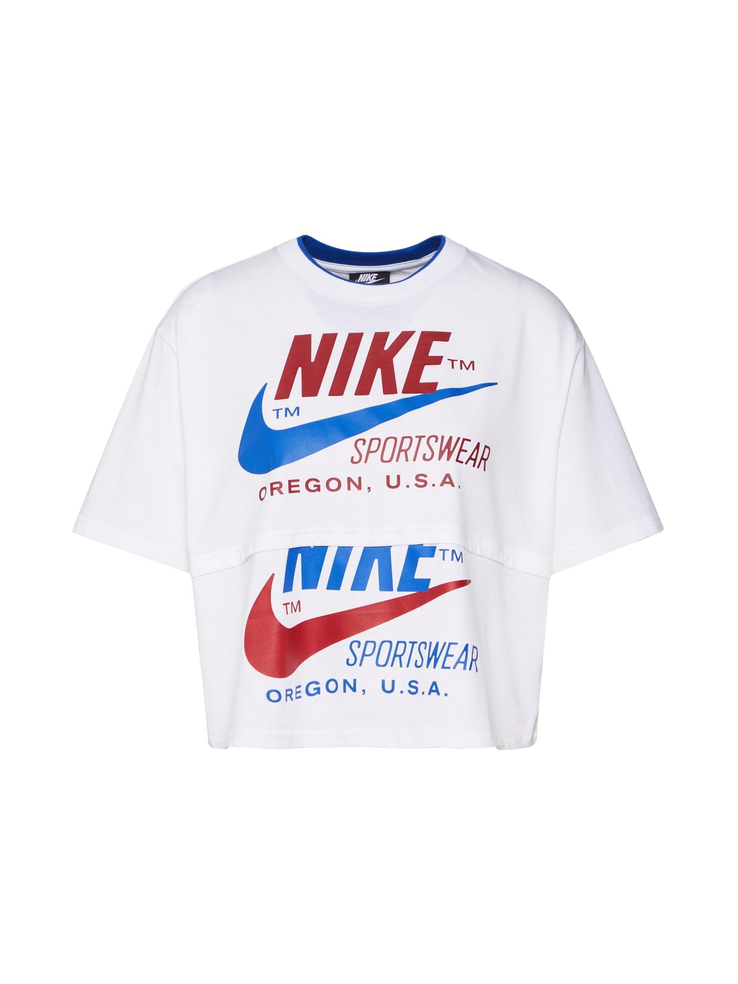 Nike Sportswear Palaidinė be rankovių kraujo spalva / balta / mėlyna