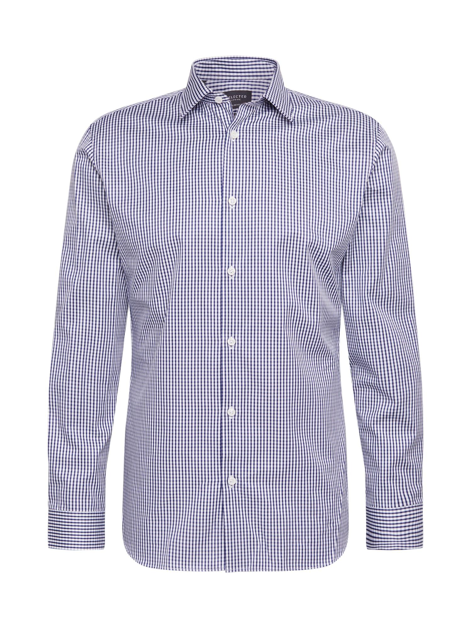 SELECTED HOMME Marškiniai tamsiai mėlyna / balta