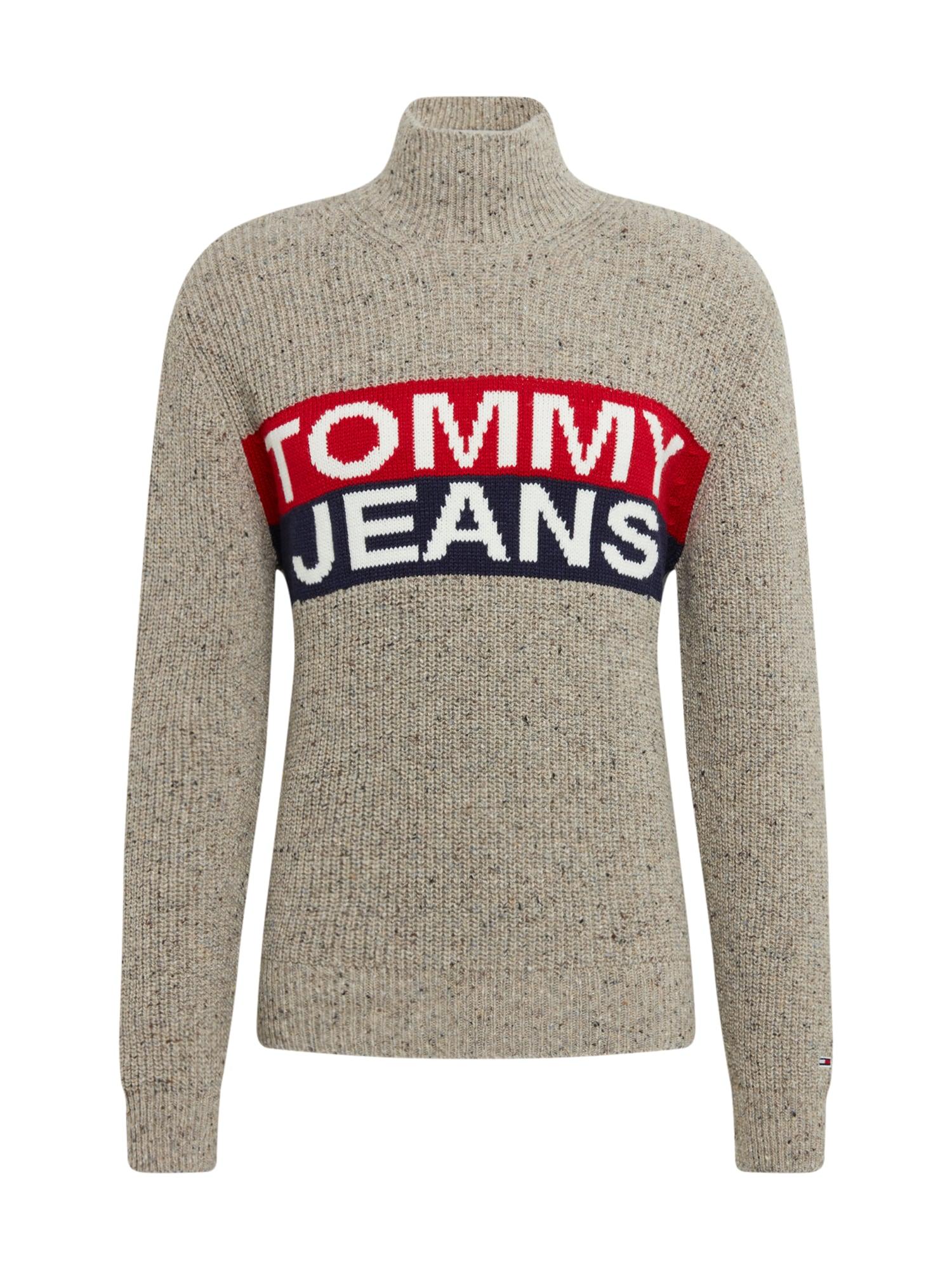 Tommy Jeans Sveter  dymovo šedá / červené / modré