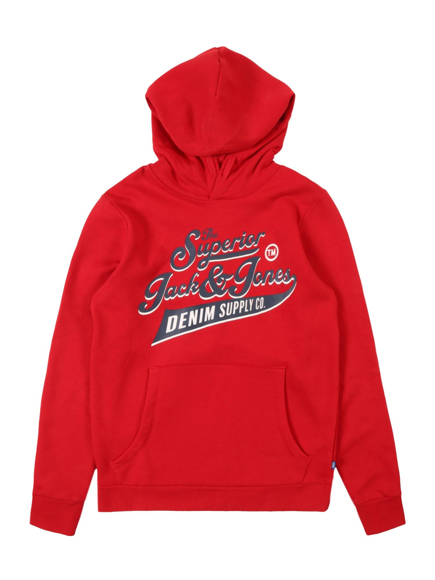 Jack & Jones Junior Mikina  tmavomodrá / červené / biela