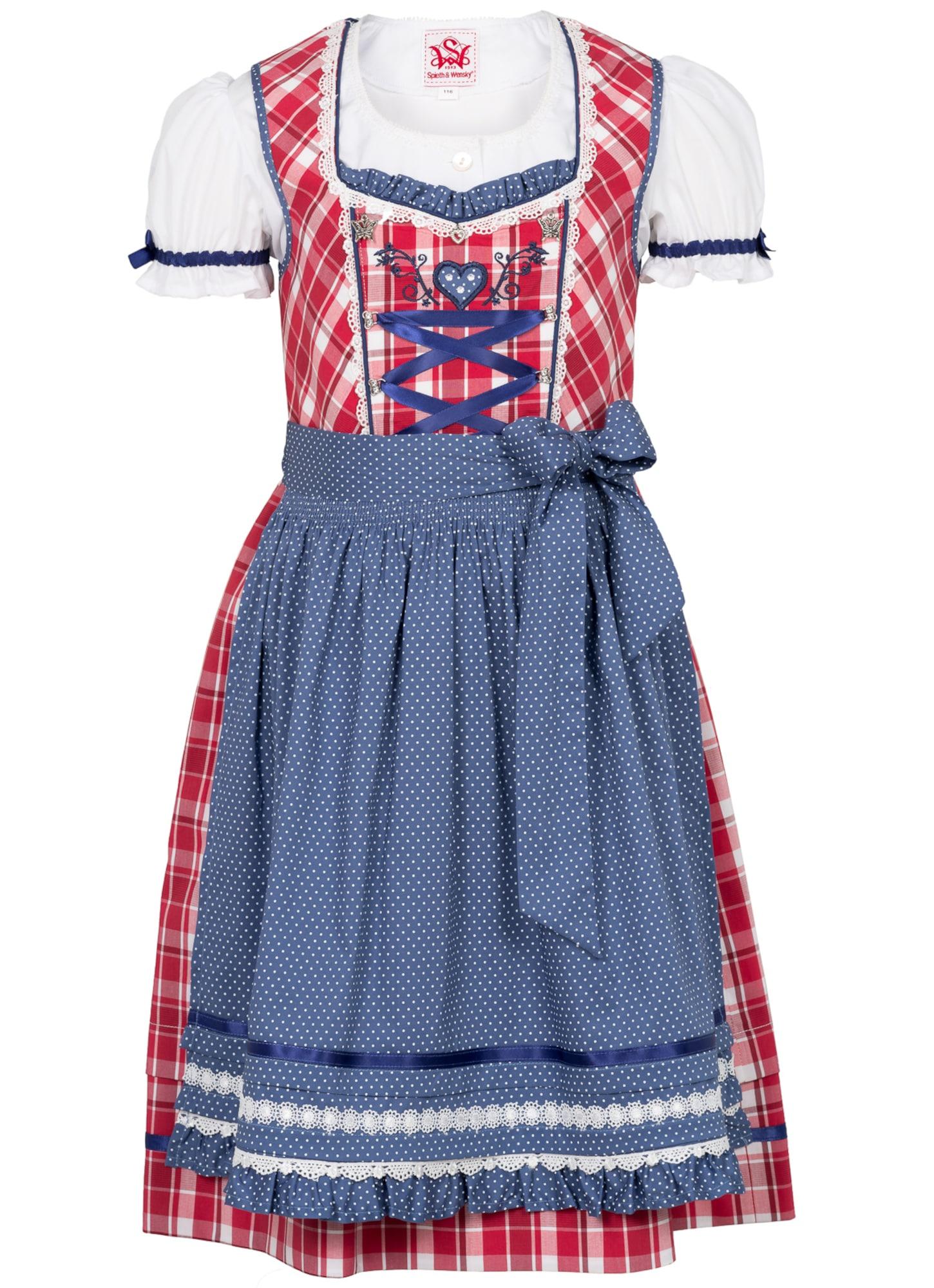 Kinder,  Mädchen,  Kinder SPIETH & WENSKY Dirndl 'Gardenie' blau,  rot,  weiß | 04059829195325
