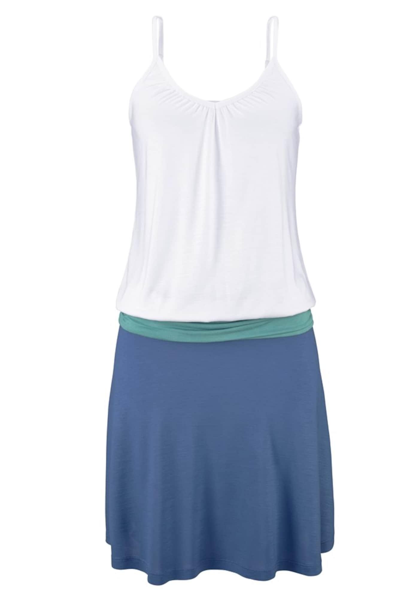 """BEACH TIME Paplūdimio suknelė turkio spalva / sodri mėlyna (""""karališka"""") / balta"""