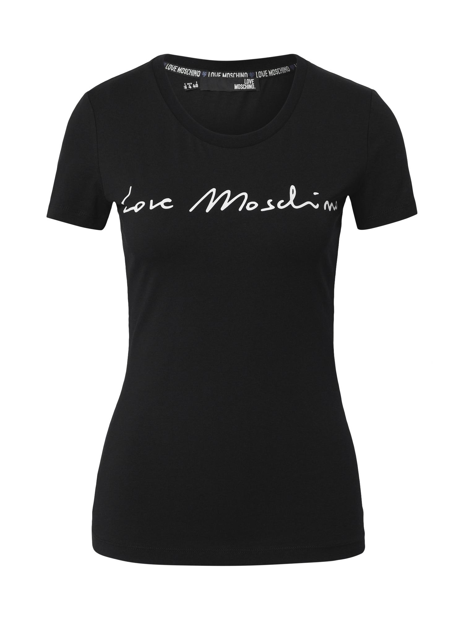 Love Moschino Marškinėliai juoda / balta