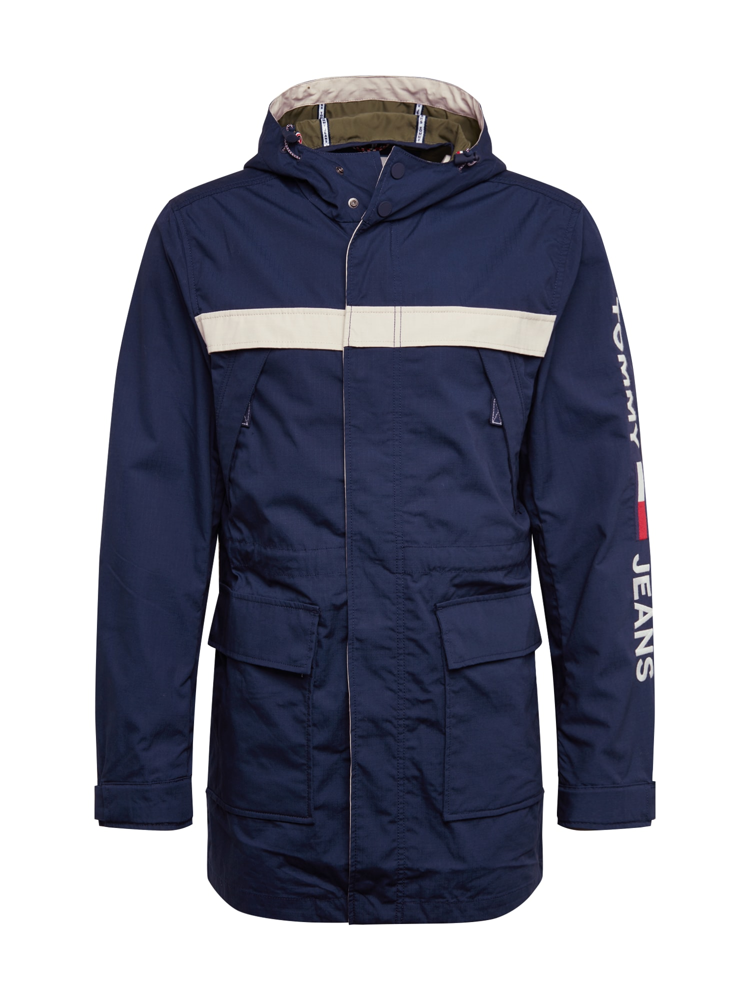 Tommy Jeans Ilga rudeninė-žieminė striukė 'TJM COTTON JACKET' balta / tamsiai mėlyna