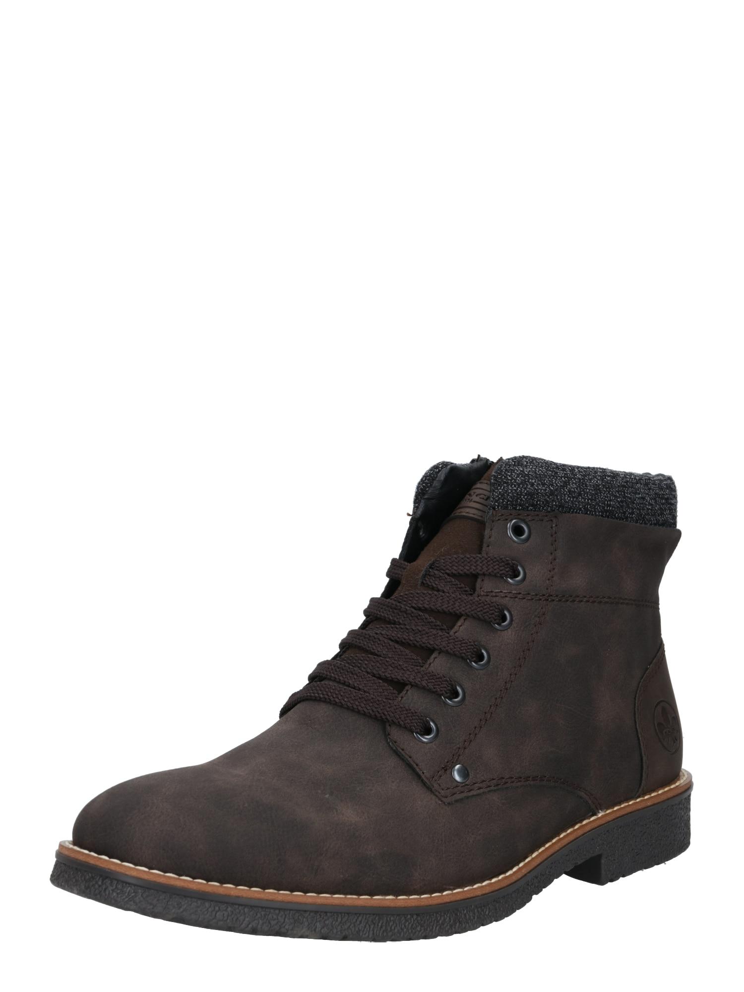 RIEKER Auliniai batai su raišteliais tamsiai ruda