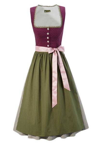Kleider - Dirndl midi mit traditionellem Mustermix › love nature › grasgrün beere rosa  - Onlineshop ABOUT YOU