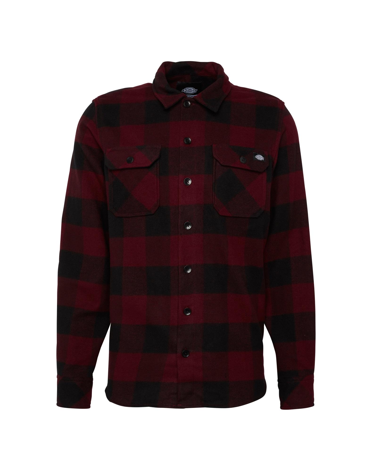 DICKIES Dalykiniai marškiniai 'Sacramento' vyno raudona spalva / juoda