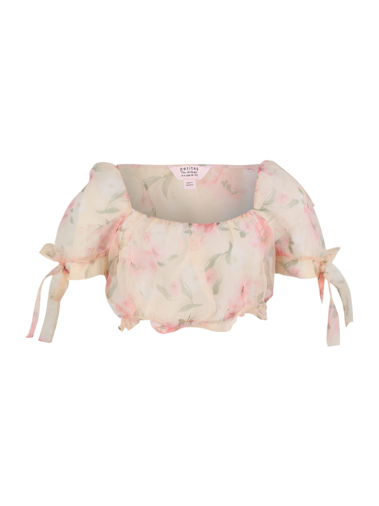 Miss Selfridge (Petite) Marškinėliai kremo / rožių spalva / žalia