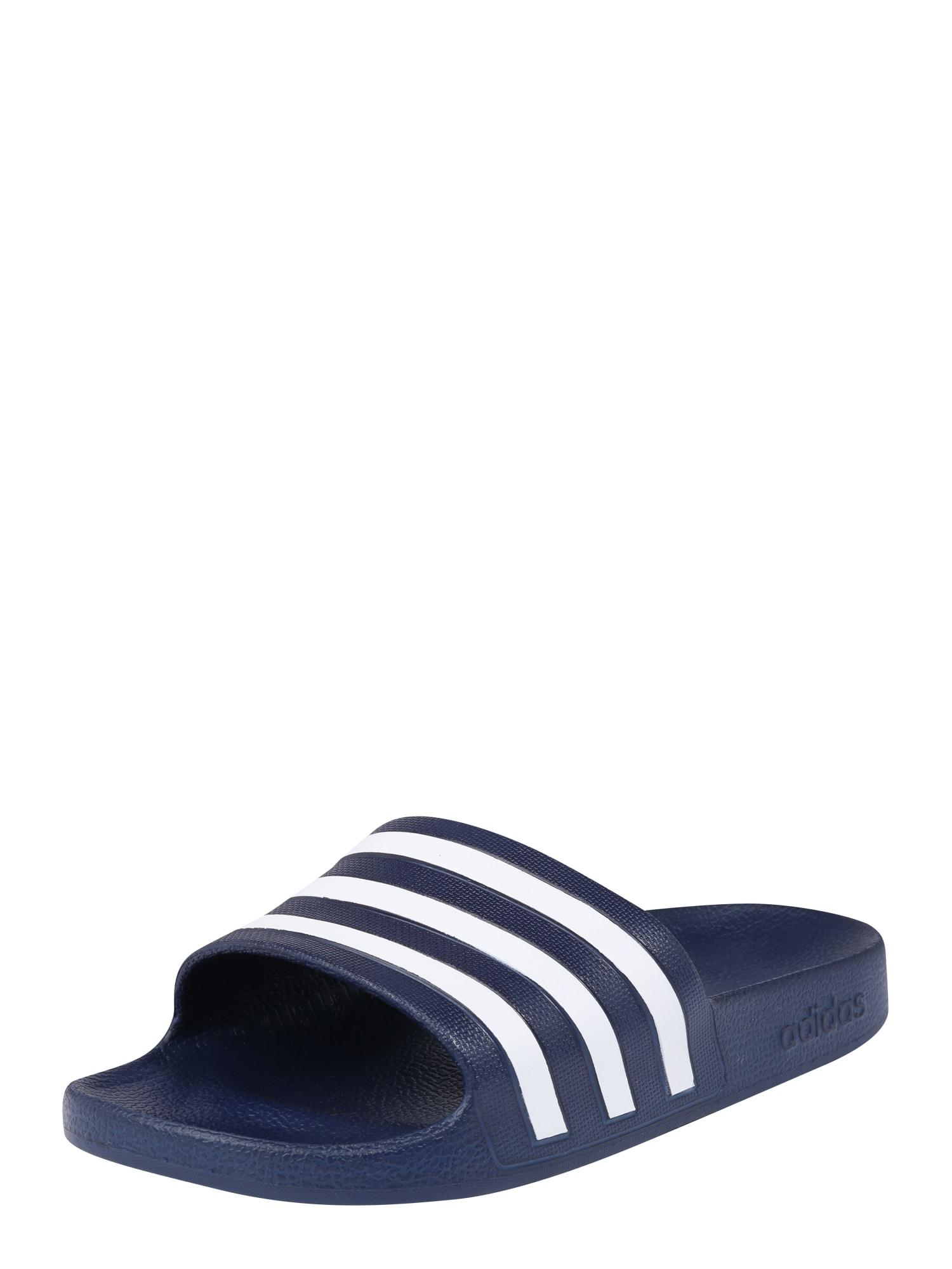 ADIDAS PERFORMANCE Sandalai / maudymosi batai 'Adilette Aqua' balta / tamsiai mėlyna