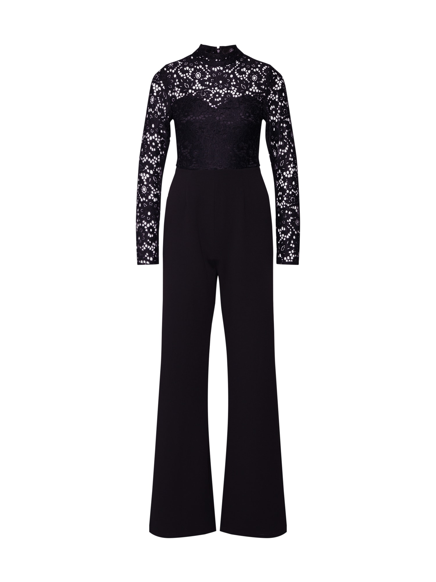 Missguided Salopeta 'Lace Top Long Sleeved Jumpsuit'  negru