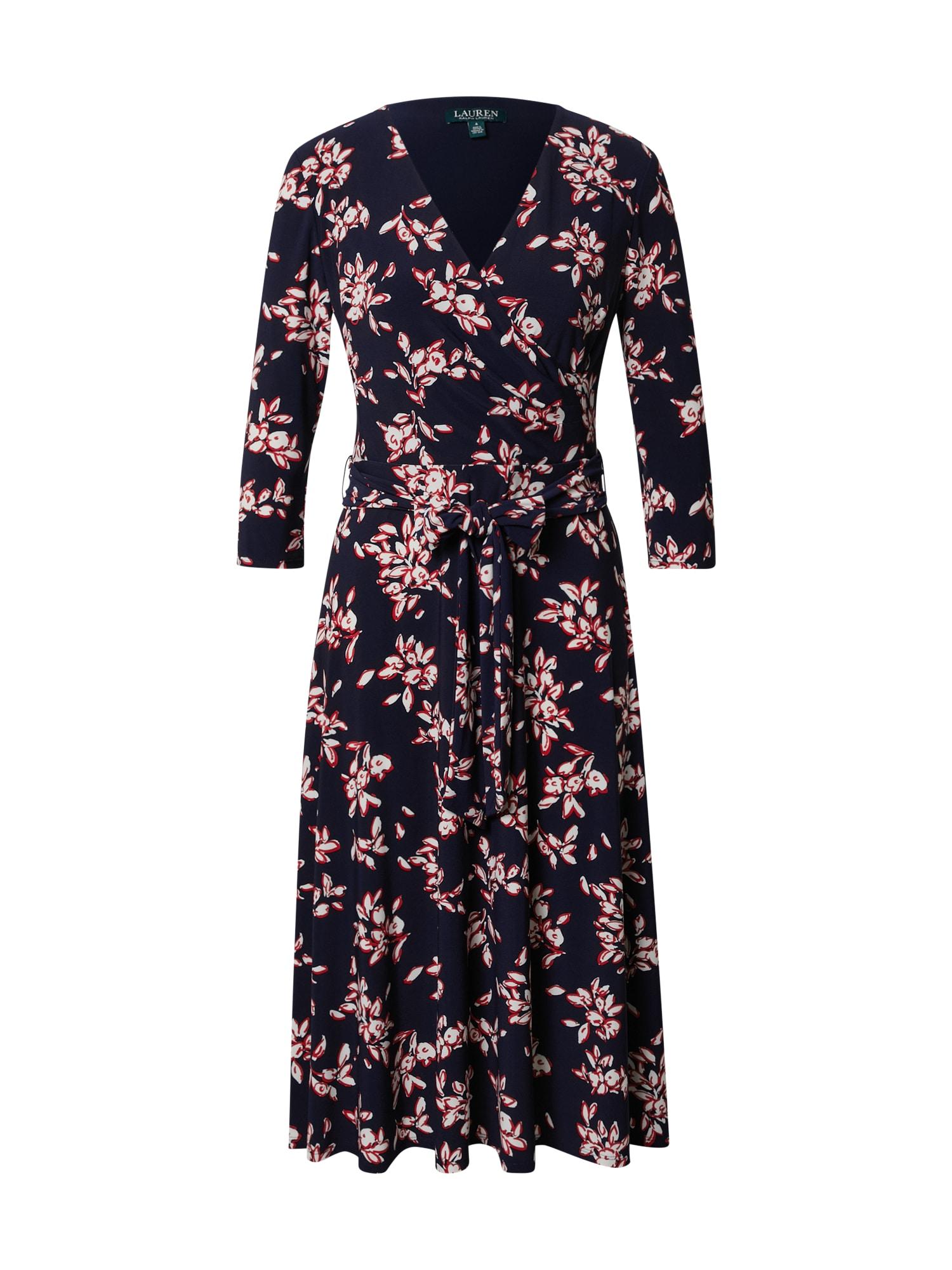Lauren Ralph Lauren Šaty 'Carlyna'  bílá / červená / marine modrá