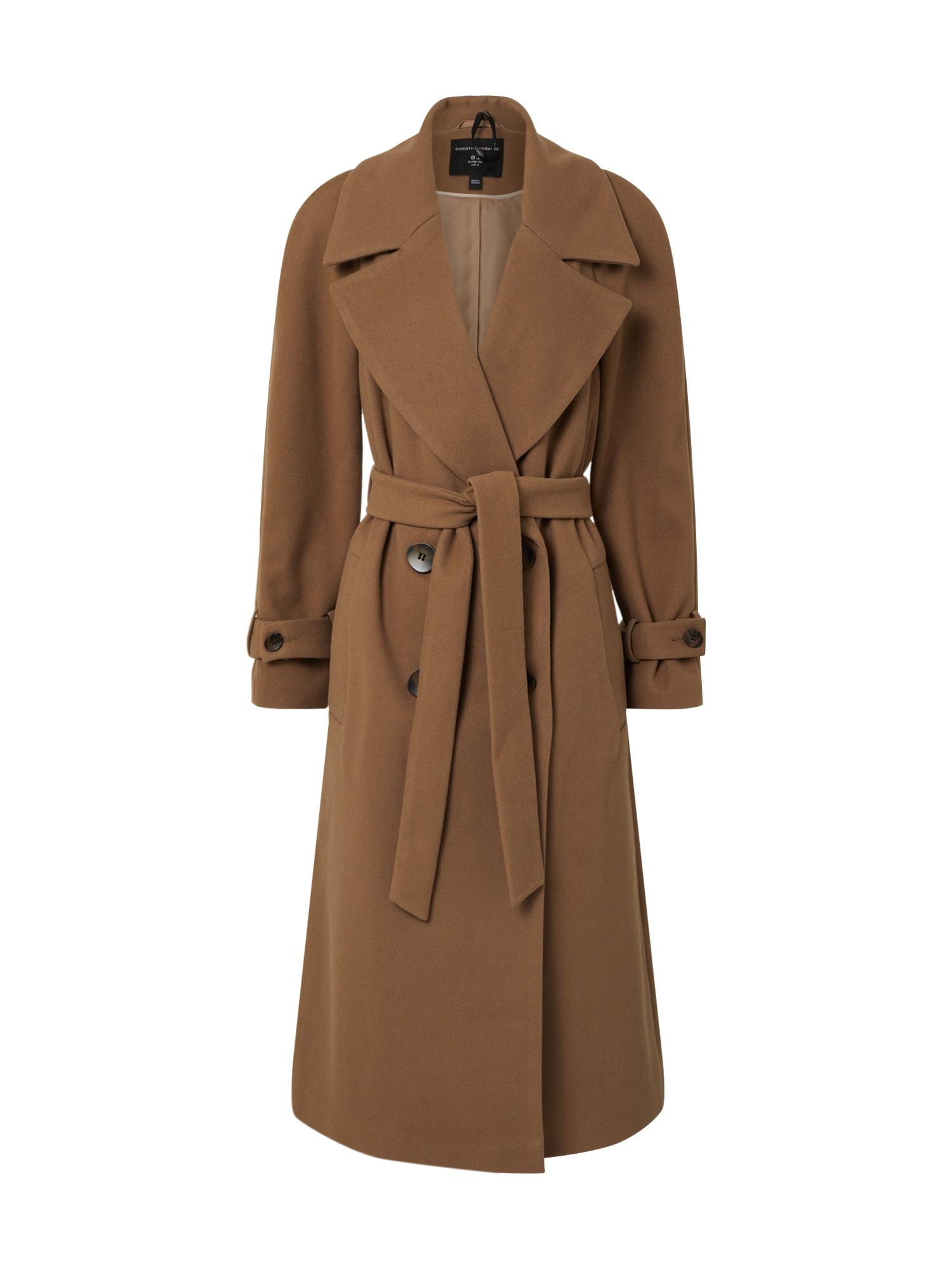Dorothy Perkins Rudeninis-žieminis paltas 'GREEN DOUBLE BREASTED BELTED WRAP COAT' smėlio