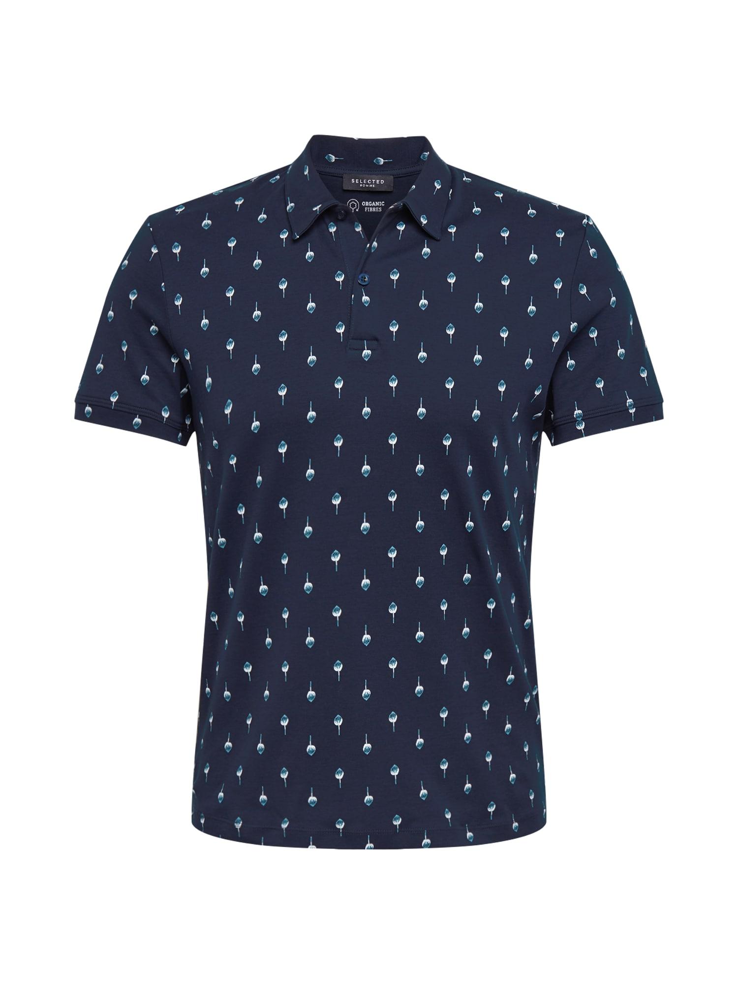 SELECTED HOMME Tričko 'SADE'  námornícka modrá / modrosivá / biela
