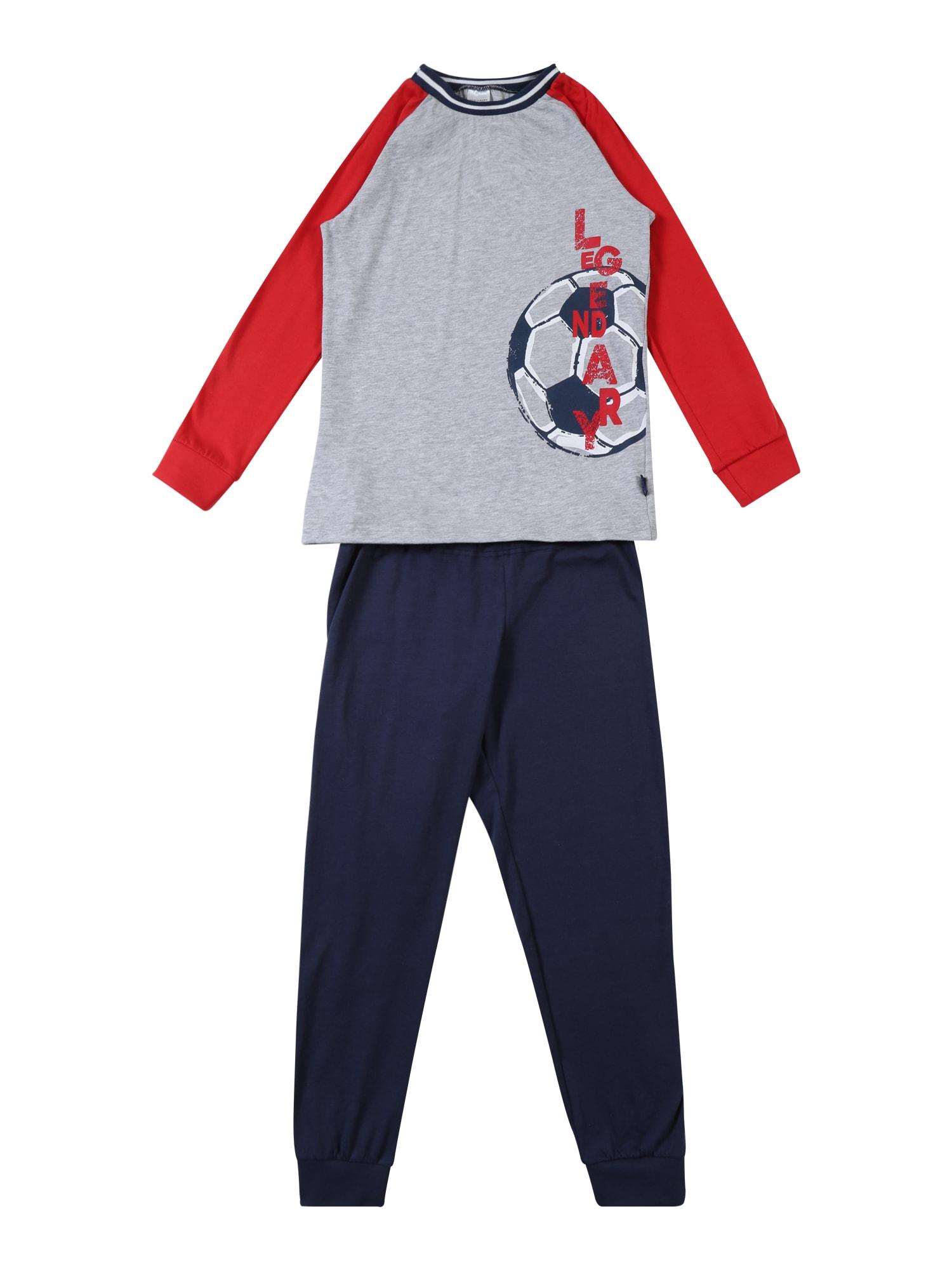 Pyžamo noční modrá šedá červená SCHIESSER
