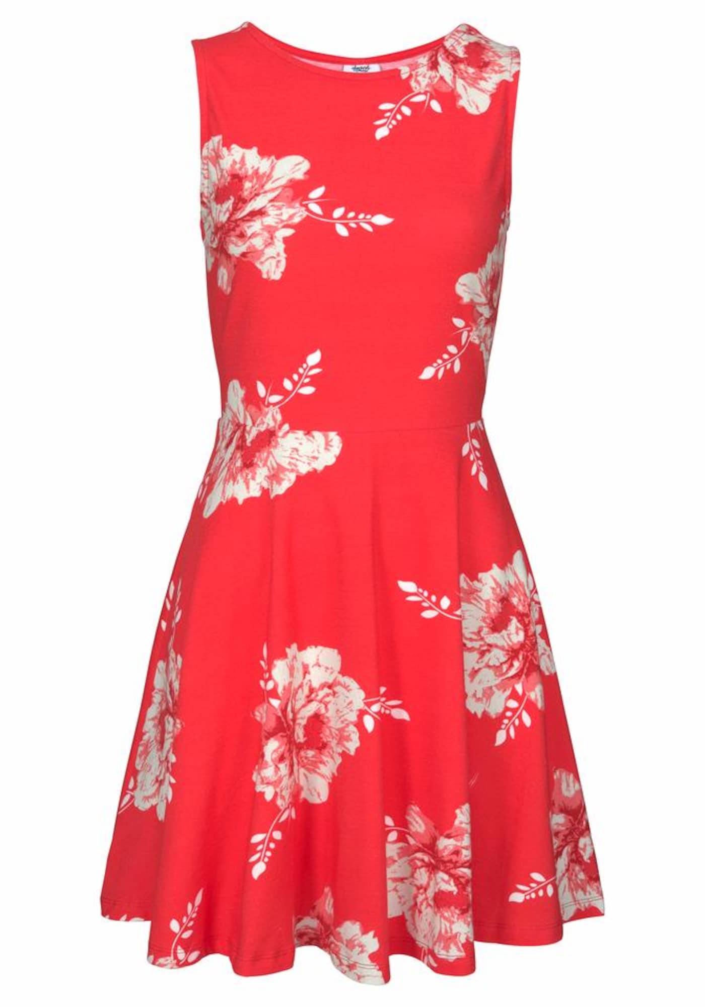BEACH TIME Vasarinė suknelė šviesiai raudona / balta