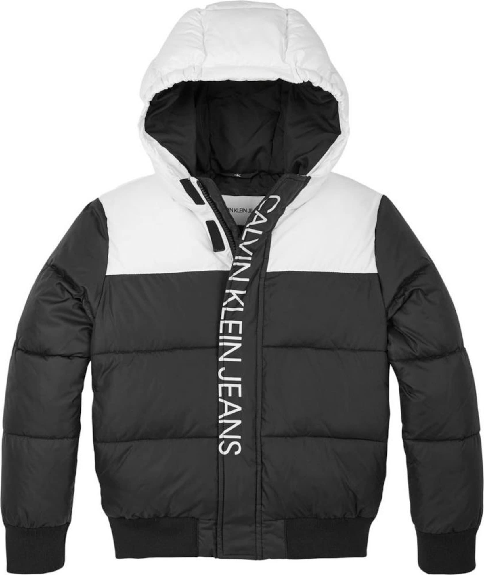 Calvin Klein Jeans Žieminė striukė balta / juoda