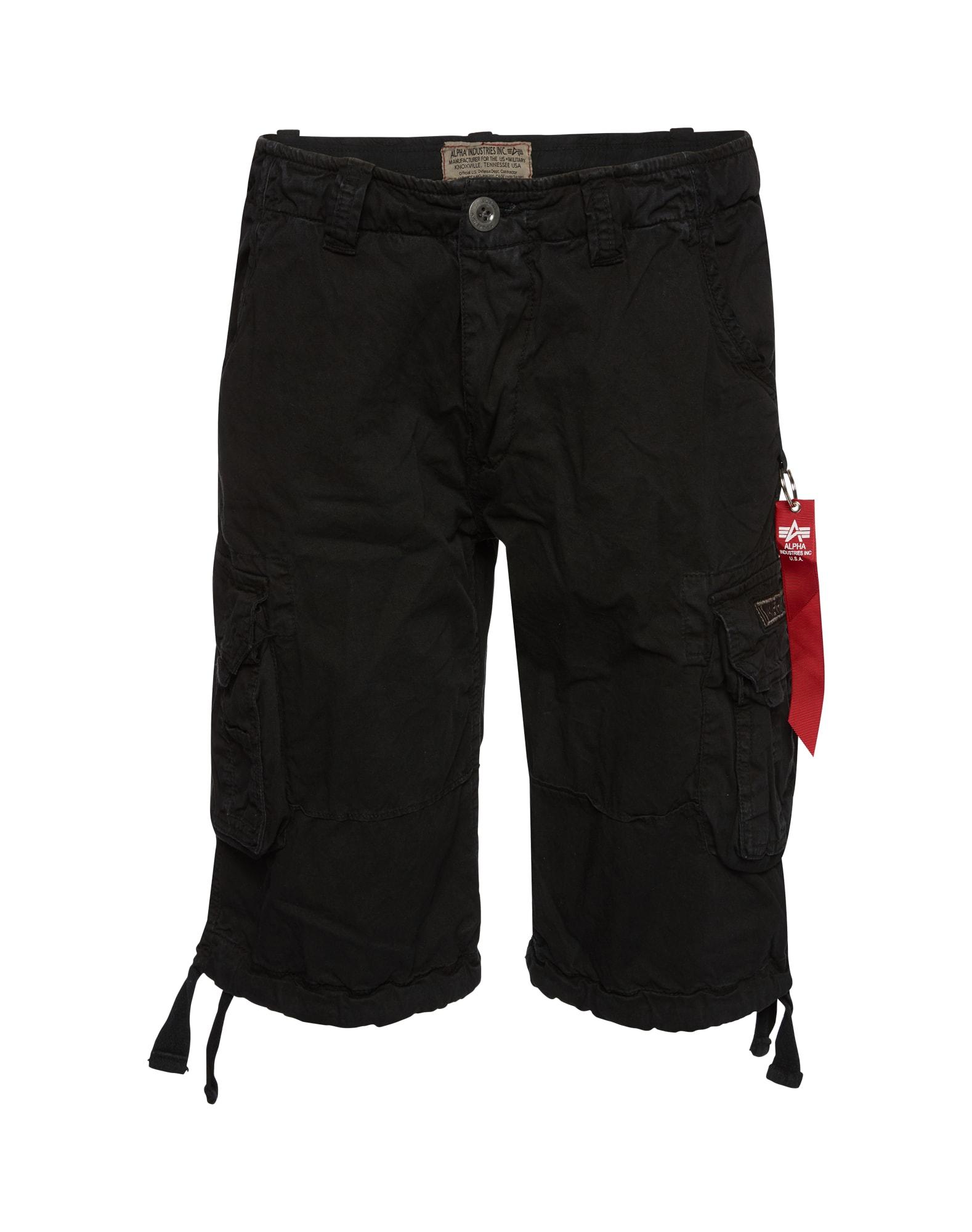 ALPHA INDUSTRIES Laisvo stiliaus kelnės 'Jet' juoda
