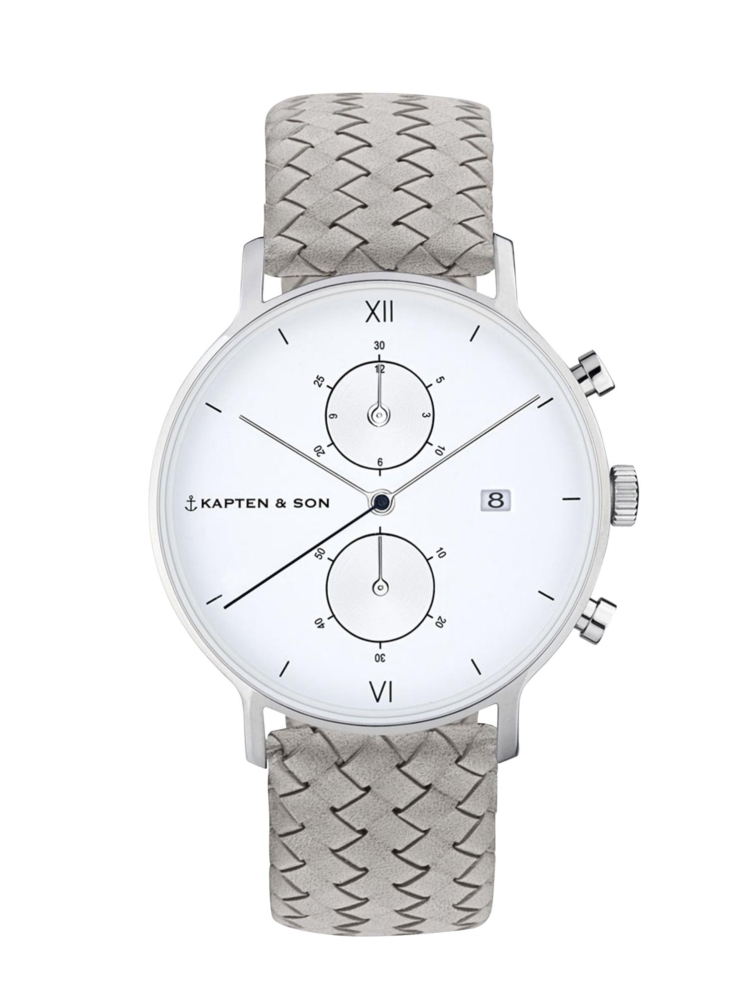 Kapten & Son Analógové hodinky 'Chrono Woven'  strieborná / sivá