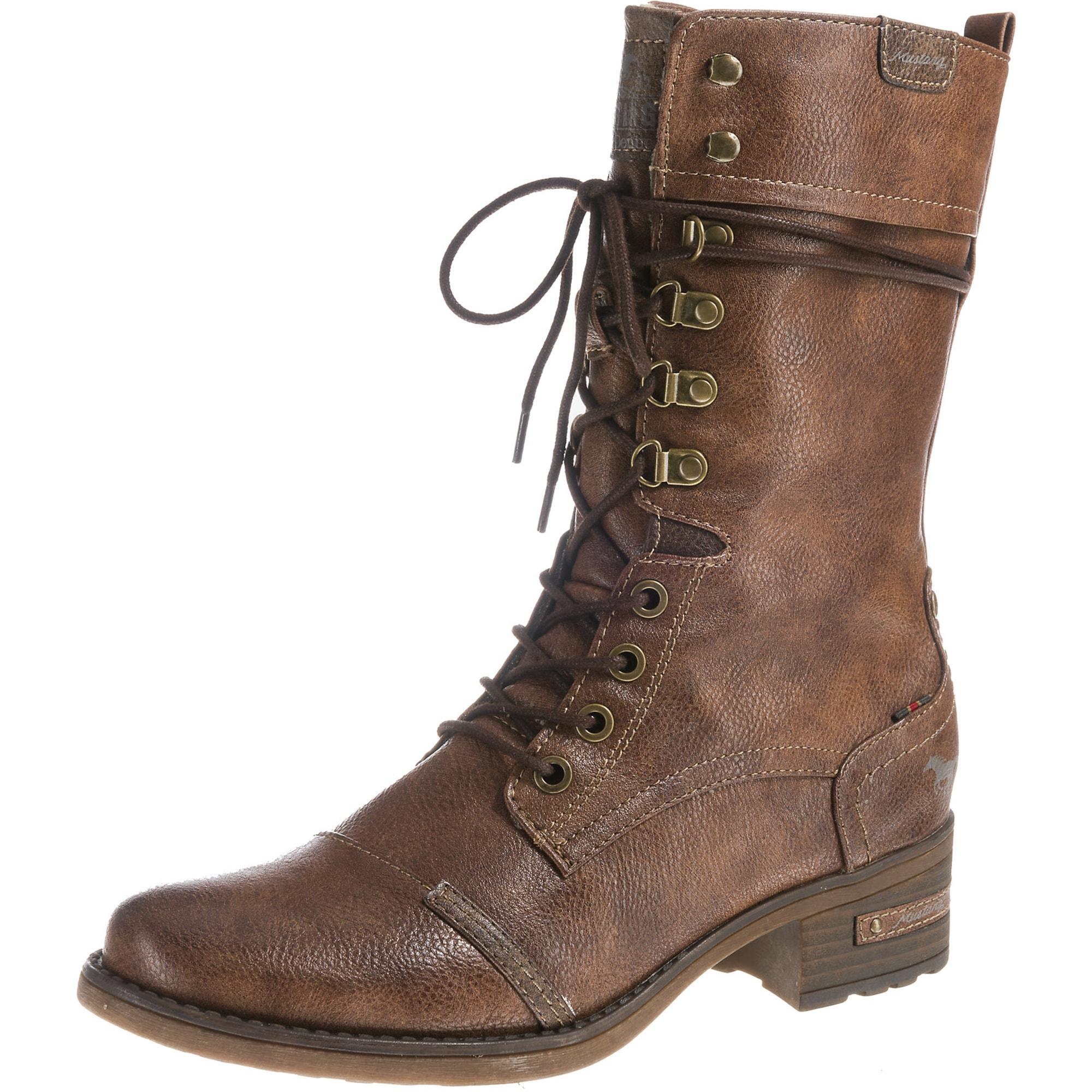 MUSTANG Suvarstomieji batai ruda