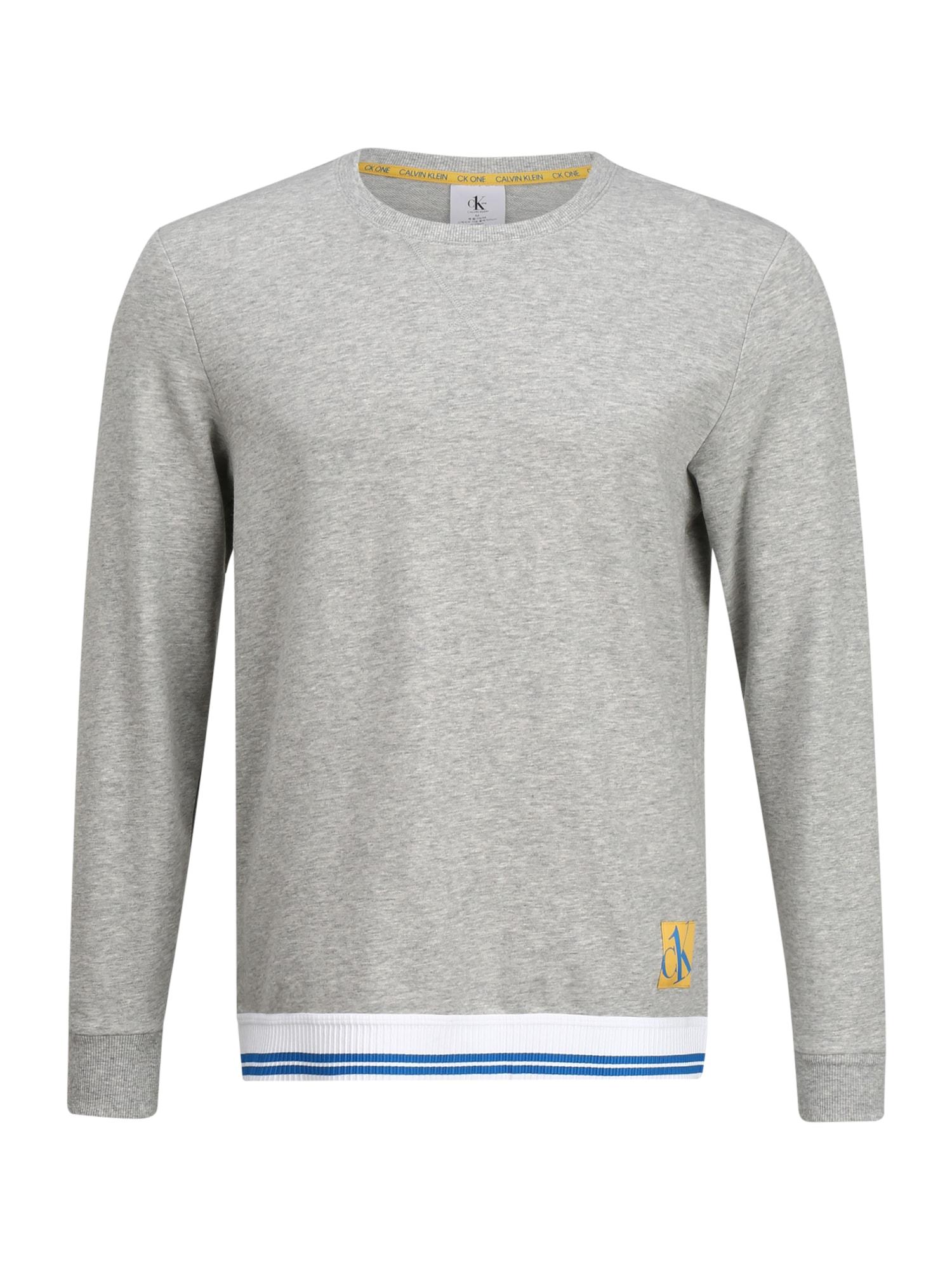 Calvin Klein Underwear Ilga pižama margai pilka / balta / mėlyna / geltona