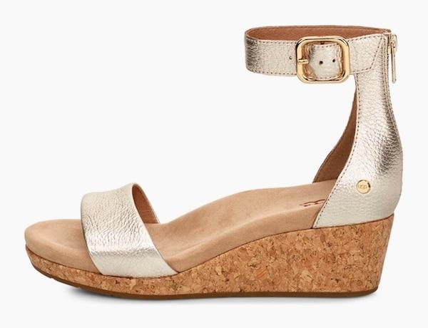 Sandalen für Frauen - UGG Sandalette 'Zoe II Metallic' gold  - Onlineshop ABOUT YOU