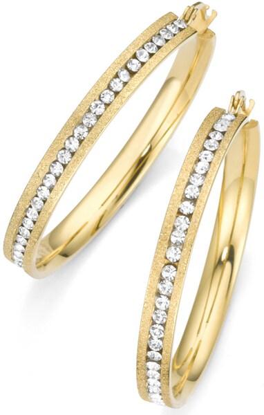 Ohrringe für Frauen - FIRETTI Paar Creolen mit Kristallsteinen gold weiß  - Onlineshop ABOUT YOU